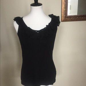 EUC Anne Klein black sleeveless top. Size L